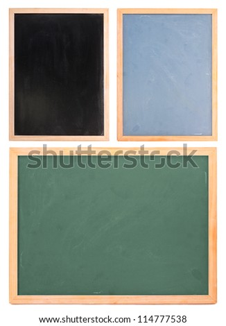 Set of different chalk boards isolated on white