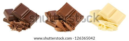 set of 3 different chocolates on white background