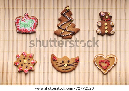 Set of different christmas cookies made of gingerbread