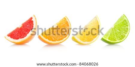 set of different citrus slices