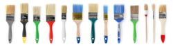 Set of different clean paint brushes on white background