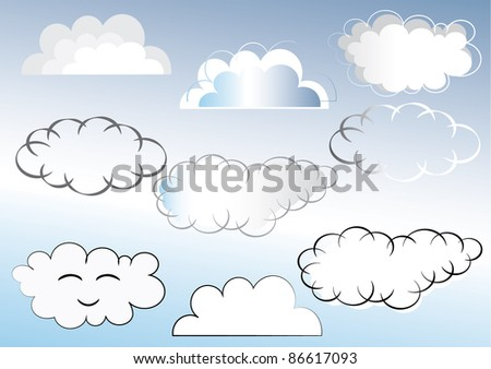 Set of different clouds raster jpeg. Vector of this file is also available, place number 86147815 in the search box.