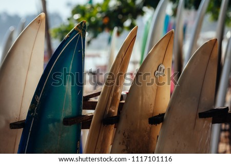 Set of different color surf boards in a stack by ocean.WELIGAMA, SRI LANKA. Surf boards on sandy Weligama beach in Sri Lanka. surf is available all year around for beginner and advanced #1117101116