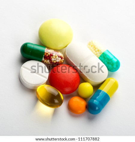 Set of different colorful pills