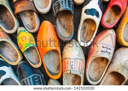 Set of different colorful vintage Dutch wooden clogs