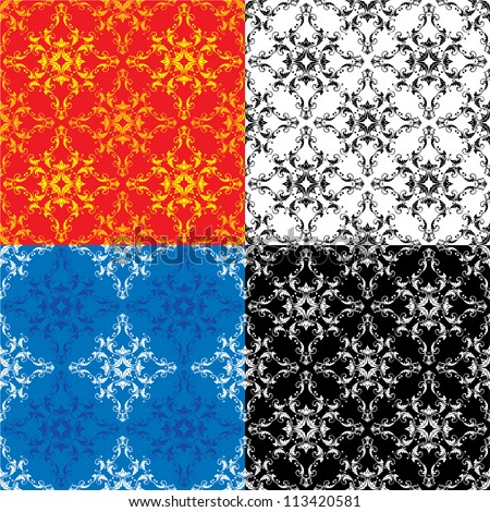 Set of 4 different colors seamless textures - vintage ornamental patterns. Raster version