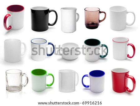 set of different cups isolated on a white background
