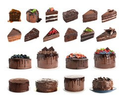 Set of different delicious cakes and pieces isolated on white