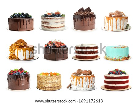 Set of different delicious cakes isolated on white