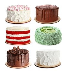 Set of different delicious cakes on white background