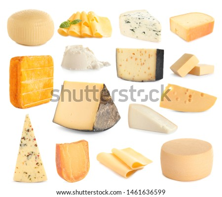 Set of different delicious cheeses on white background