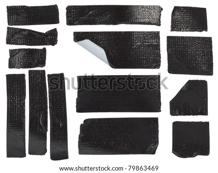 Set of different duct tape pieces isolated on white