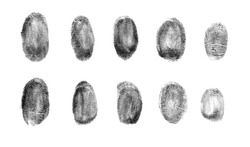 Set of different fingerprints on white background, top view