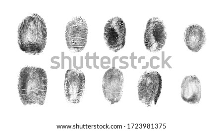 Photo of  Set of different fingerprints on white background, top view