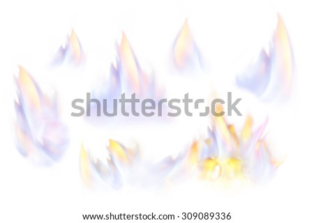 Set of different flames isolated on white. Fire.Studio shot,retouched