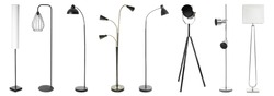 Set of different floor-lamps on white background