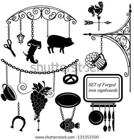 Set of different form metal sign boards for restaurant, bar, cafe or shop. Raster version