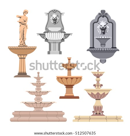 Set of different fountains. Design elements and icons.