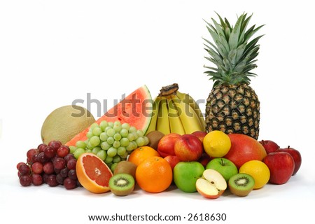Set of different fresh fruits isolated on white