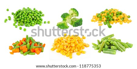 set of different frozen vegetables isolated on white