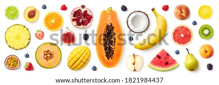 Set of different fruits and berries isolated on white background, top view, flat lay