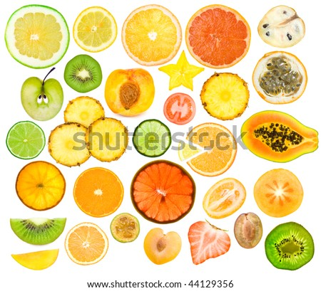 set of different fruits slices #44129356