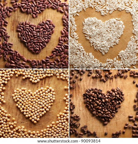 Set of different grains in the shape of the heart: coffee beans, rice, peas, beans. Close-up on old vintage wooden background.