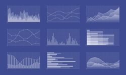 Set of different graphs and charts. Infographics and diagnostics, charts and schemes. Business charts and graphs infographic elements. Currency business and market charts  set.