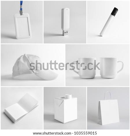 Set of different items on light background. Mockup for design