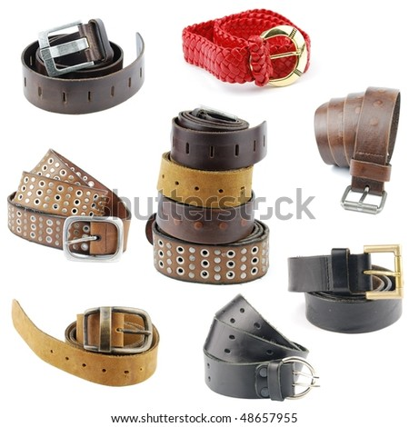 set of different leather belts isolated on white background
