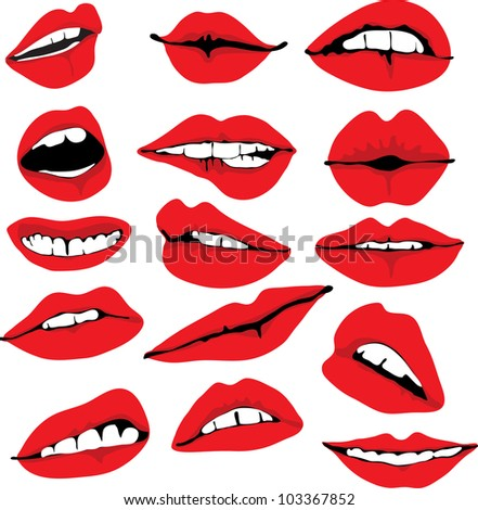 Set of different lips, illustration
