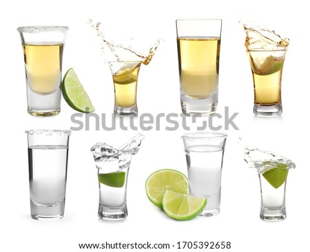 Set of different Mexican Tequila shots on white background Foto stock ©