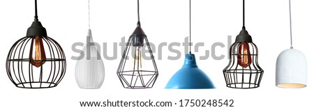 Set of different modern hanging lamps on white background. Banner design Photo stock ©