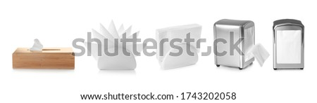 Set of different modern napkin holders with paper serviettes on white background. Banner design Stock photo ©