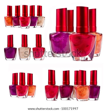 Set of different nail polish on isolated white background