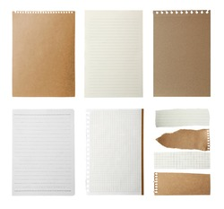 Set of different notebook papers on white background