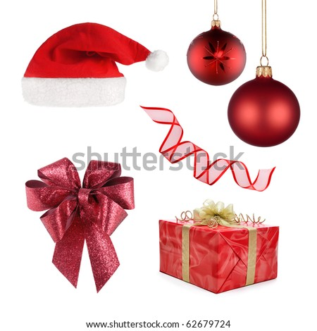 Set of different objects representing Christmas, all in red isolated on white