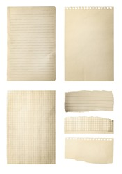 Set of different old notebook papers on white background