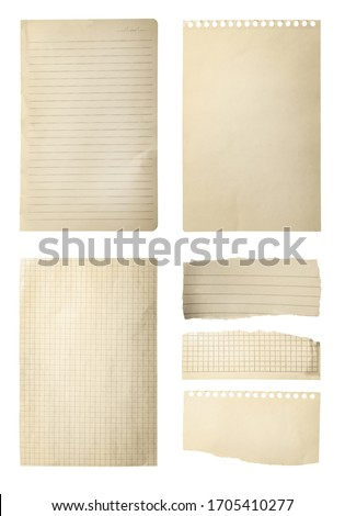 Set of different old notebook papers on white background stock photo