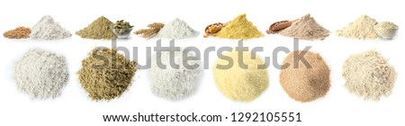 Set of different organic flour and seeds on white background