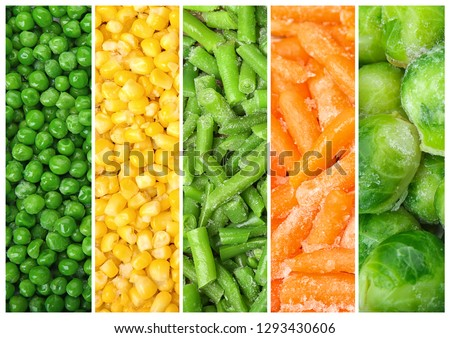 Set of different organic frozen vegetables, top view #1293430606