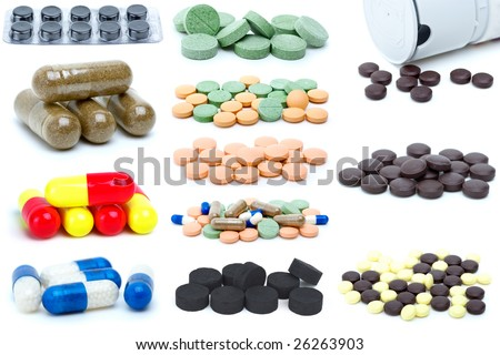 Set of different pills and tablets isolated on the white background
