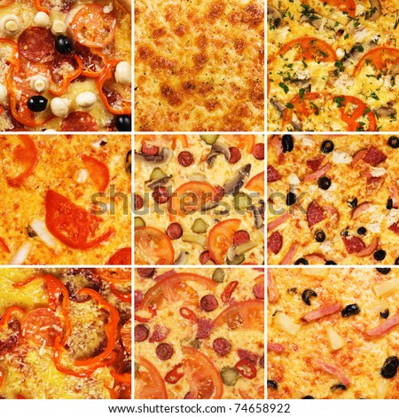 Set of different pizzas