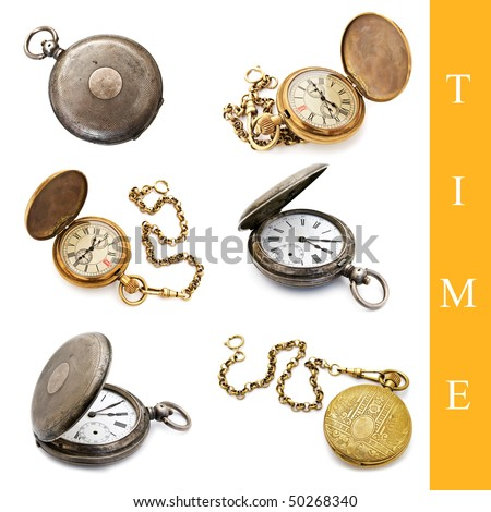 set of different pocket watch images over white background
