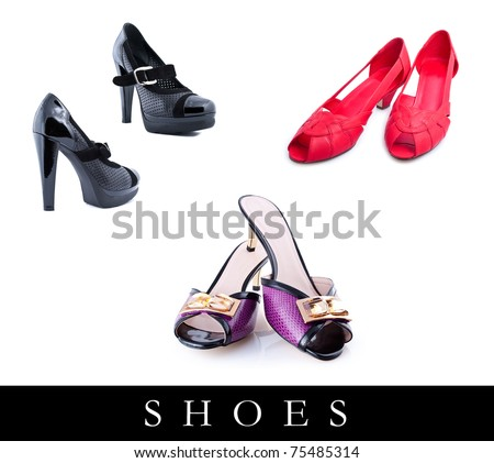 set of different shoes images over white background