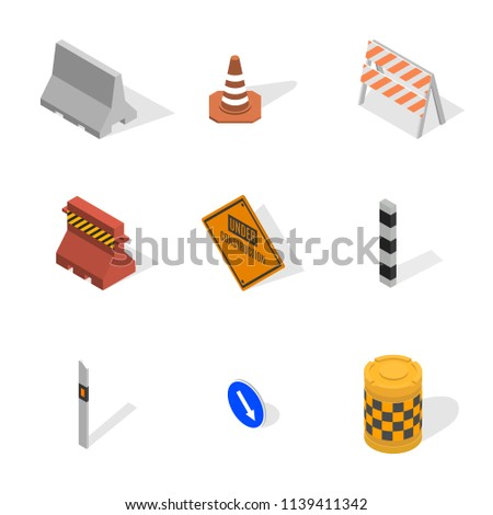 Set of different signs road repairs, isolated on white background. Under construction design elements. Flat 3D isometric style,  illustration.