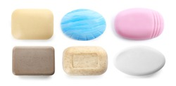 Set of different soap bars on white background, top view