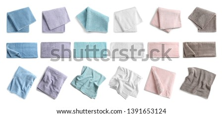 Set of different soft terry towels on white background, top view  Stockfoto ©
