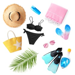 Set of different stylish beach accessories on white background, top view