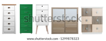 Set of different stylish commodes isolated on white. Furniture for wardrobe